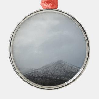 Snowy Arizona Mountain Round Metal Christmas Ornament