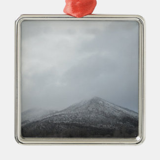 Snowy Arizona Mountain Square Metal Christmas Ornament