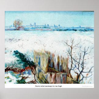 Snowy Arles Landscape by van Gogh Print