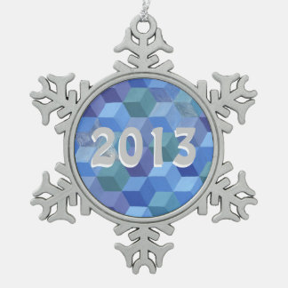 Snowy Baby Blocks Pewter Snowflake Decoration