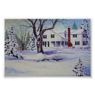Snowy Back Yard- poster