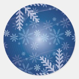 Snowy Background Round Stickers