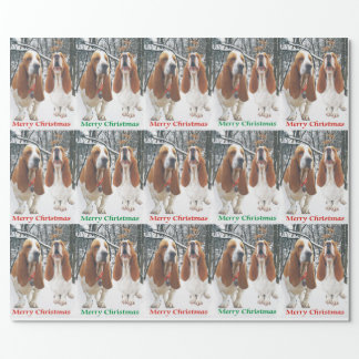 Snowy Basset Hound Merry Christmas Wrapping Paper