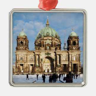 Snowy Berlin Cathedral 001.02.2 Silver-Colored Square Decoration