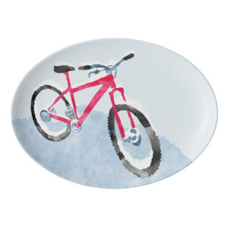 Snowy Bicycle Serving Platter