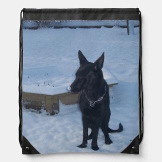 Snowy Black German Shepherd Backpack