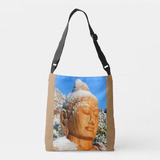 snowy buddha face closeup crossbody bag
