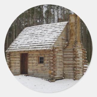 Snowy Cabin Round Sticker