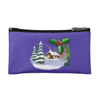 Snowy Cabin with Trees Purple Cosmetic Bag