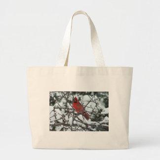 Snowy Cardinal Canvas Bags