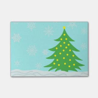 Snowy Cartoon Winter Scene with Tree Post-it® Notes