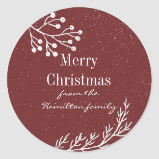 Snowy Chalk Branches Color Editable Classic Round Sticker