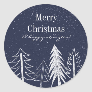 Snowy Chalk Trees Color Editable Holiday Classic Round Sticker