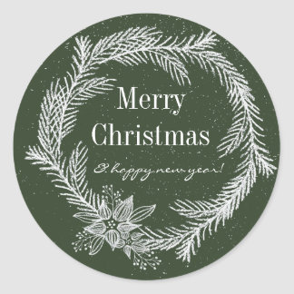 Snowy Chalk Wreath Color Editable Holiday Classic Round Sticker