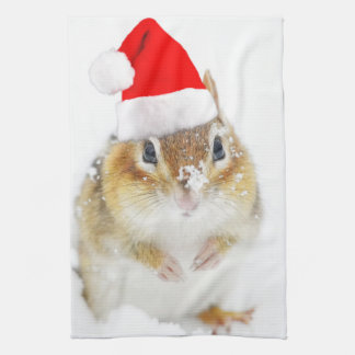 Snowy Christmas Chipmunk Tea Towel