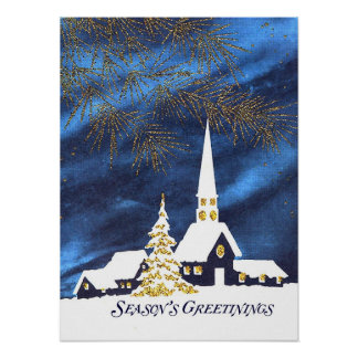 Snowy Christmas Church Poster