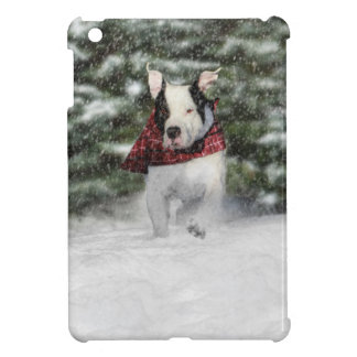 Snowy Christmas Holiday Greeting for Dog Lover iPad Mini Cover