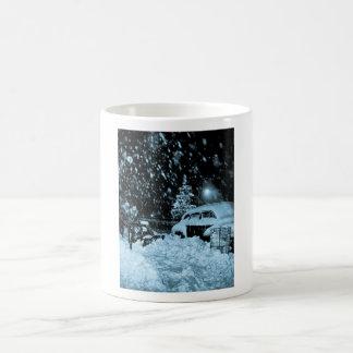 Snowy Christmas in New York City Vintage Basic White Mug
