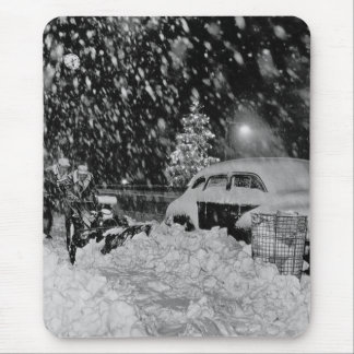 Snowy Christmas in New York City Vintage Mouse Pad