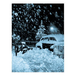 Snowy Christmas in New York City Vintage Postcard