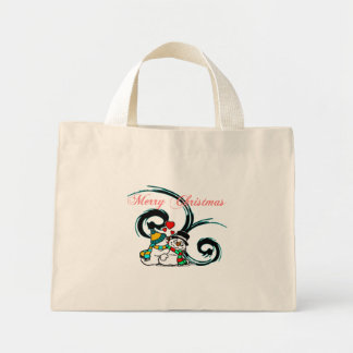 Snowy Christmas Love Striped Bag