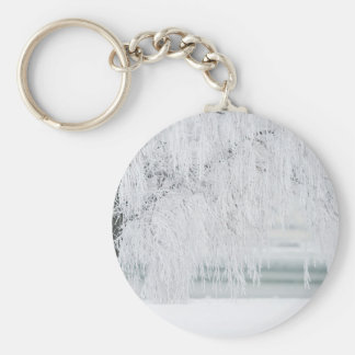 Snowy Christmas Scene Basic Round Button Key Ring