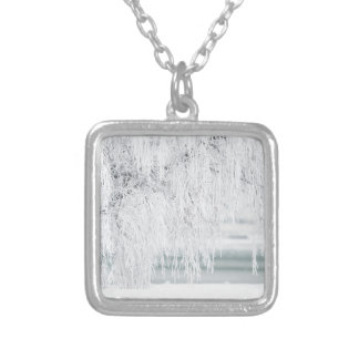 Snowy Christmas Scene Silver Plated Necklace