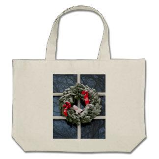 Snowy christmas wreath canvas bag