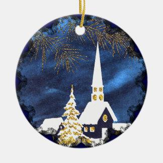 Snowy Church Vintage Christmas Ornament