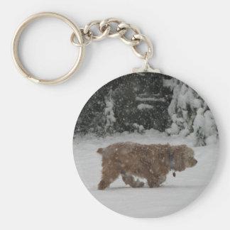 Snowy Cocker Spaniel Key Ring