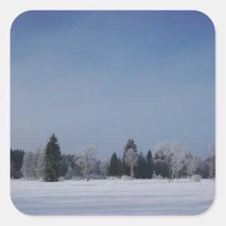 Snowy cold winter landscape 12 square sticker