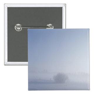 Snowy cold winter landscape 15 cm square badge