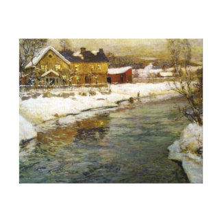Snowy Cottage by a Canal Stretched Canvas Prints