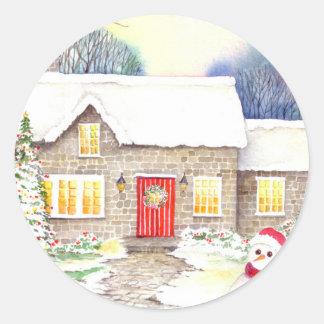 Snowy Cottage Classic Round Sticker