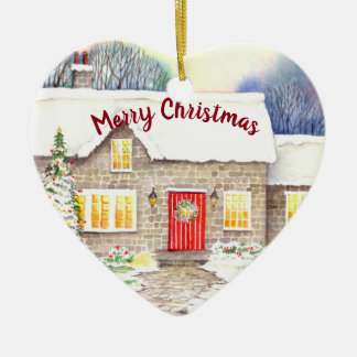 Snowy Cottage Watercolor Painting Christmas Ornament