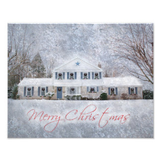 Snowy Country Rural Christmas Holiday Greeting Photo Print