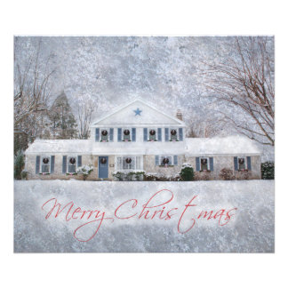 Snowy Country Rural Christmas Holiday Greeting Art Photo
