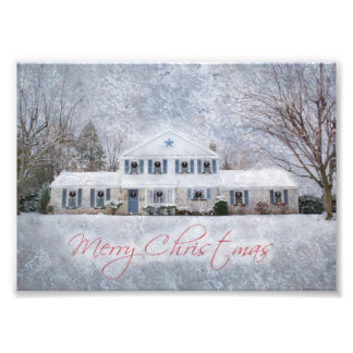 Snowy Country Rural Christmas Holiday Greeting Photo Art