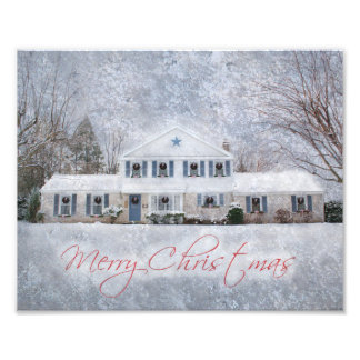 Snowy Country Rural Christmas Holiday Greeting Photograph