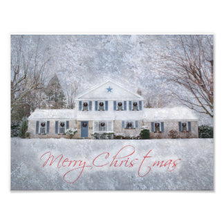 Snowy Country Rural Christmas Holiday Greeting Photographic Print