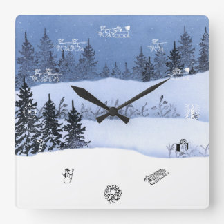 Snowy Dark Night Square Wall Clock