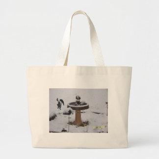 snowy day birdbath jumbo tote bag