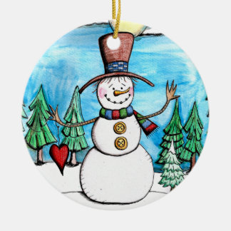 Snowy Day Snowman Christmas Ornament