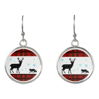 Snowy Deer & Fox Tartan Plaid Holiday Earrings