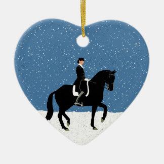 Snowy Dressage Horse Christmas Ceramic Heart Decoration