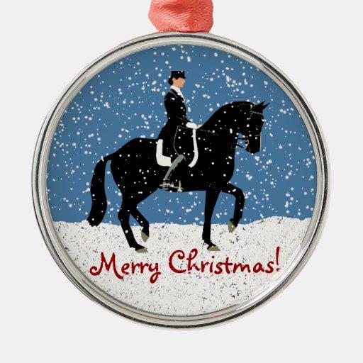 Snowy Dressage Horse Christmas Christmas Ornaments