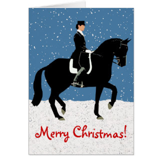 Snowy Dressage Horse Christmas Greeting Card