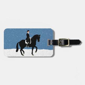 Snowy Dressage Horse Christmas Luggage Tag