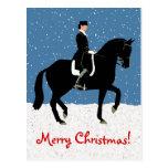 Snowy Dressage Horse Christmas Postcard