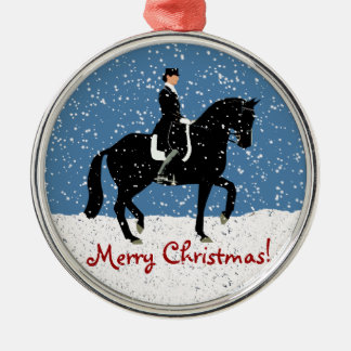 Snowy Dressage Horse Christmas Silver-Colored Round Decoration